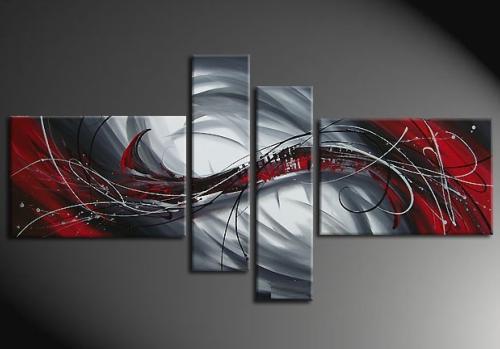 Tableau Moderne Rouge Gris Ii