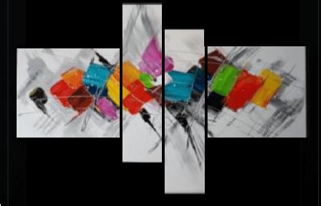tableaux design abstrait en 4 toiles