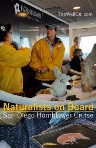 Naturalists on board a San Diego whale watching cruise