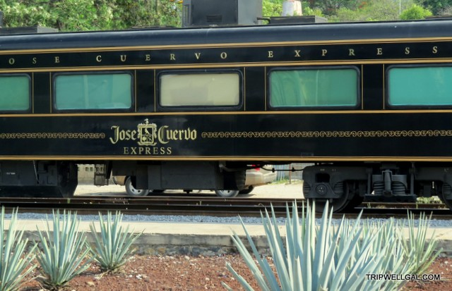 Jose Cuervo train waits at the station on the Tequila Trail