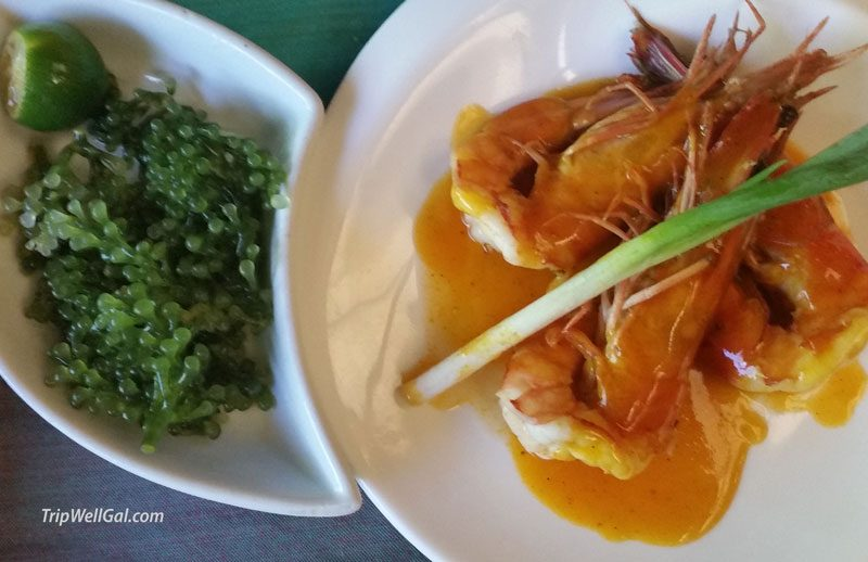 Entree with sea grapes in Kalui, great Filipino foods