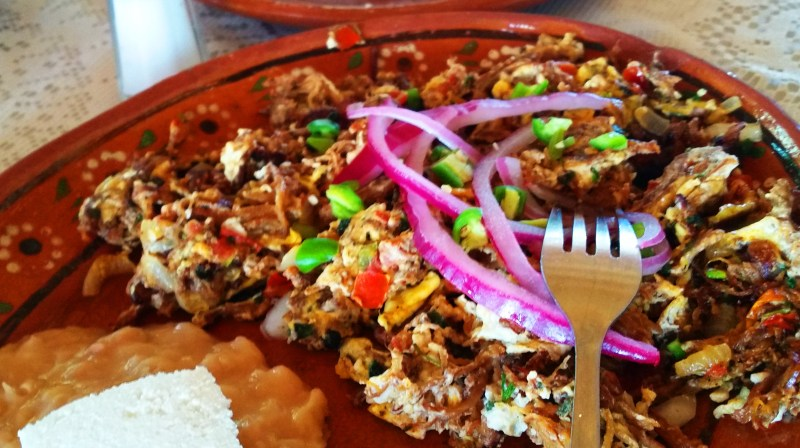 Tastiest breakfast food in the world - Machaca con Huevos, tortillas, cheese and beans
