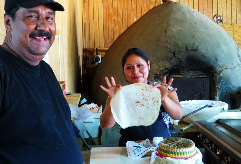 Dona Esthela Cocina tortillas and husband