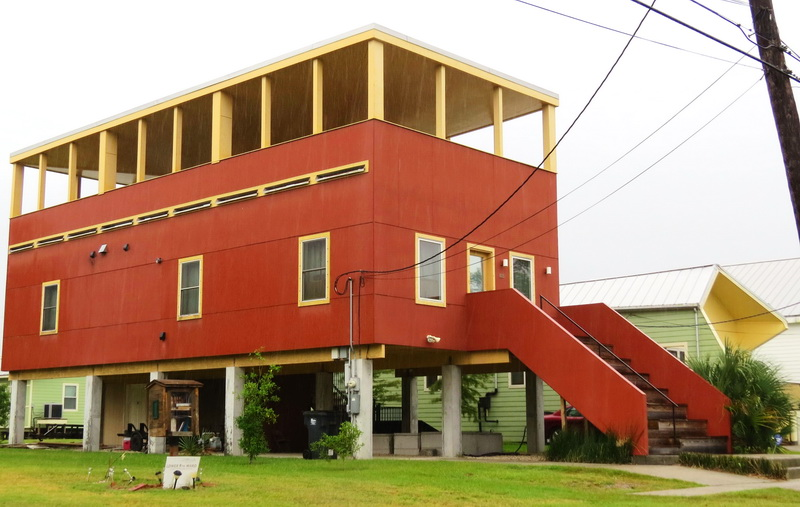 One of the raised houses that Brad Pitt's organization has helped construct post Hurricane Katrina
