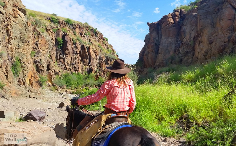 Lunchbox canyon with our Lajitas Stables guide, Kelly