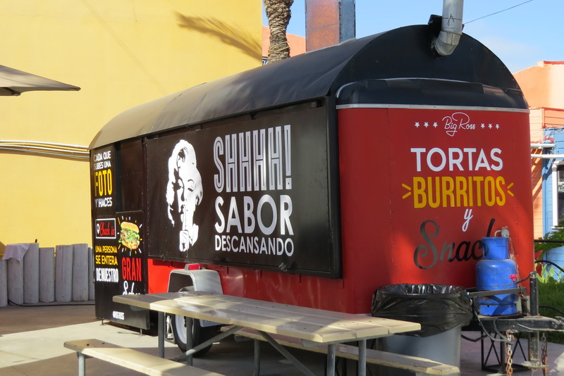 A food truck on the main street of Rosarito