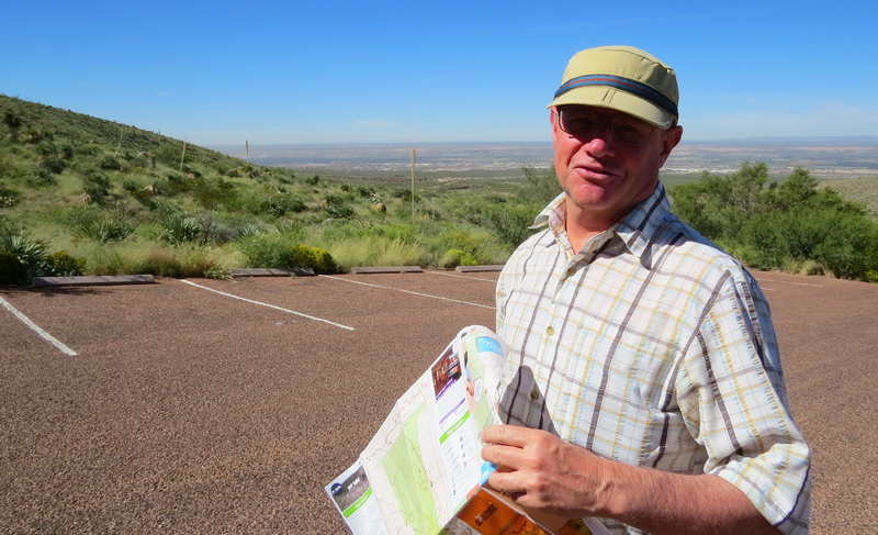 Don Baumgartner, GeoBetty founder and guide in the Franklin Mountain State Park visit El Paso