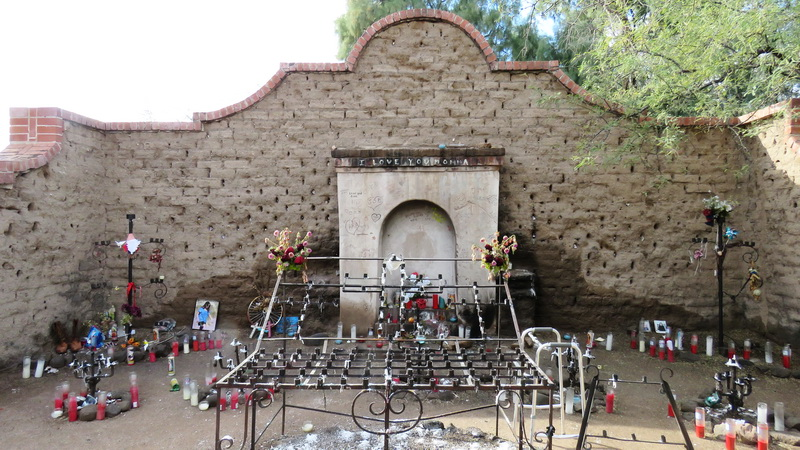 We stopped our bikes at El Tiradito, a little shrine in memory of a ranch hand who was killed due to romantic involvement with his mother in law!