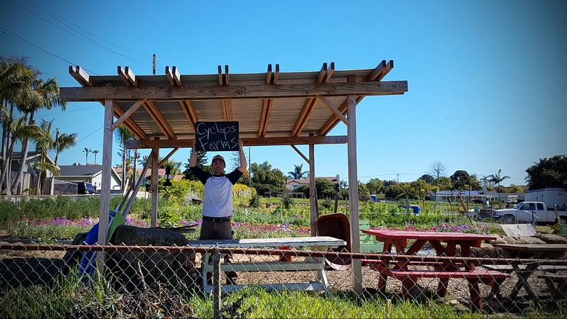 Luke Girling, founder of Cyclops Farms inside his farm stand