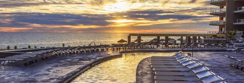 Palomas beach resort at sunset