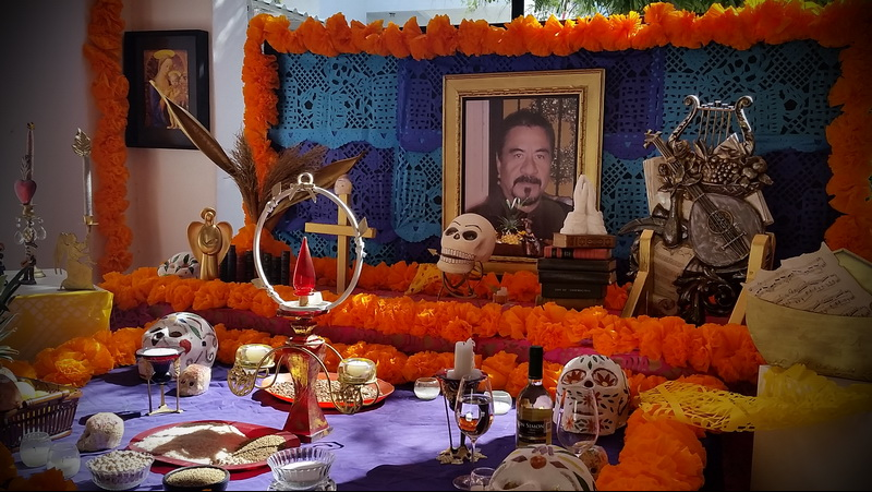 An office altar in La Paz, Mexico