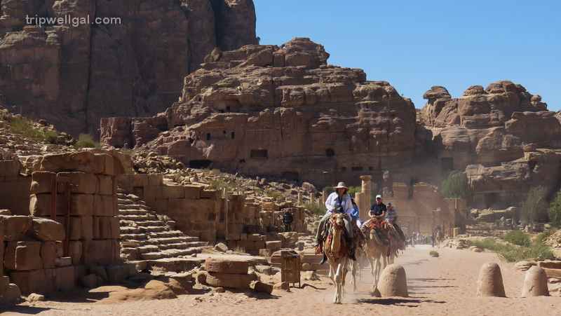 Ride a camel from the Treasury site inside Petra