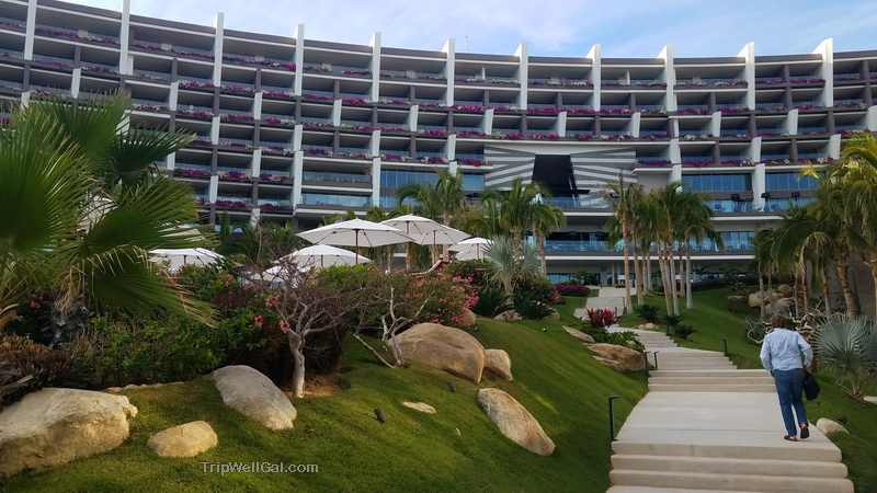 Looking up from the sea to the sweeping beauty of the Grand Velas in Cabo