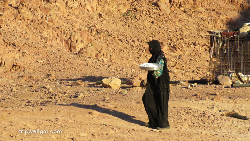 Bedouin woman brings bread to her tent
