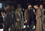 """DC's Legends of Tomorrow -- """"Pilot, Part 1"""" Pictured (L-R): Falk Hentschel as Carter Hall/Hawkman, Ciara Renee as Kendra Saunders/Hawkgirl, Caity Lotz as Sara Lance, Victor Garber as Professor Martin Stein, Wentworth Miller as Leonard Snart/Captain Cold, Arthur Darvill as Rip Hunter and Dominic Purcell as Mick Rory/Heat Wave -- Photo: Jeff Weddell/The CW © 2015 The CW Network, LLC. All Rights Reserved."""