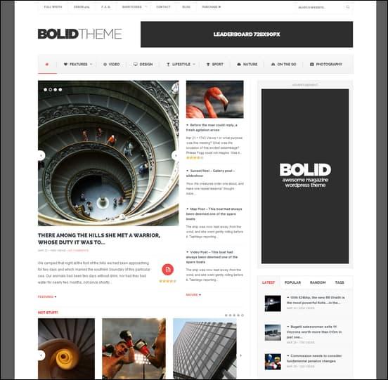 Bolid - Responsive News 3-column WordPress Theme