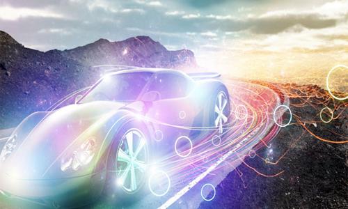 Speeding car with lighting