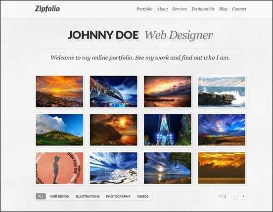 Zipfolio – Single Page Portfolio WordPress Theme