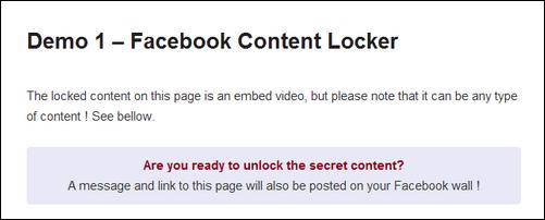 Facebook Viral Content Locker for WordPress