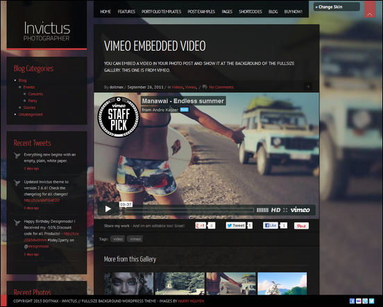 Invictus is a cool video portfolio theme for WordPress