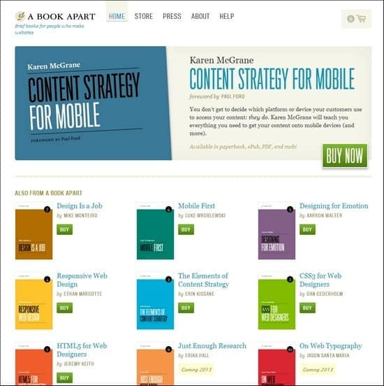 A Book Apart is an e-commerce book site