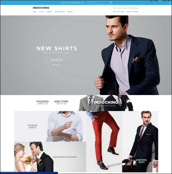Indochino is a responsive e-commerce site