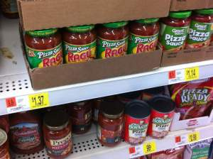 WalMart had a nice assortment of pizza sauces.