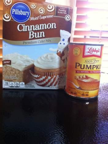 cinnamon bun cake mix and pumpkin