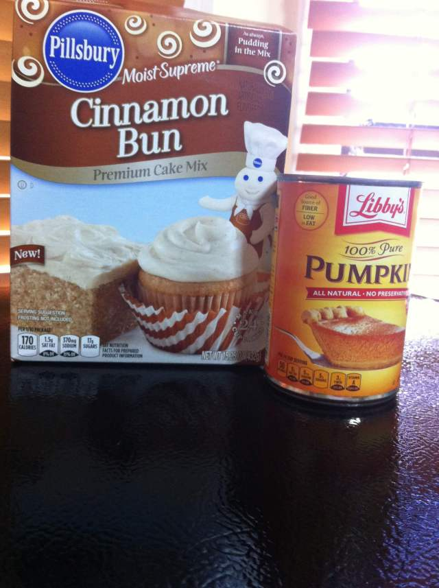 cinnamon bun cake mix and pumpkin