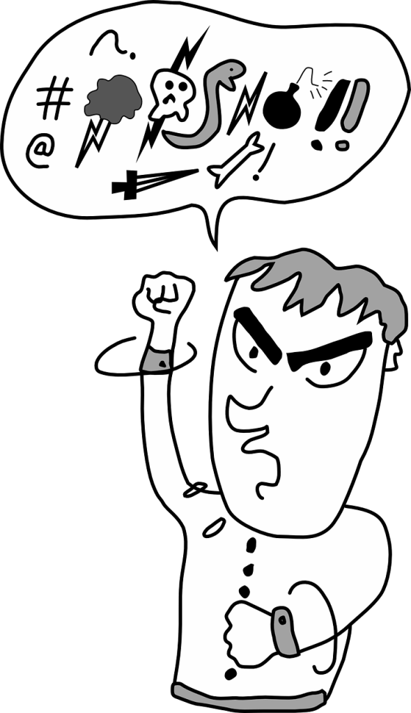 easy meditation online / self-care pic: cartoon image of man shaking fist, with speech bubble showing vague profanities