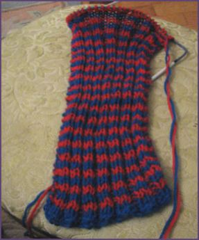 red and blue ribbed scarf