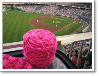 My knitting enjoyed the ballgame immensely.