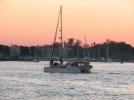Boat on the bay at sunset