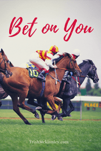 Pictures of horse and jockeys racing with 'Bet On You' written at top