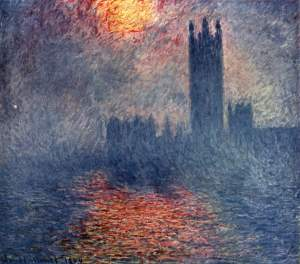London, Houses of Parliament. The Sun Shining through the Fog. Claude Monet