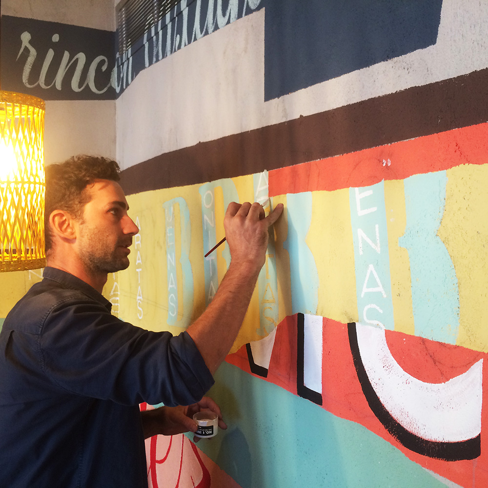 Wahaca Edinburgh Restaurant design, Mural commission, Max Rippon