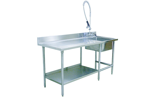 veterinary kennel prep area table with