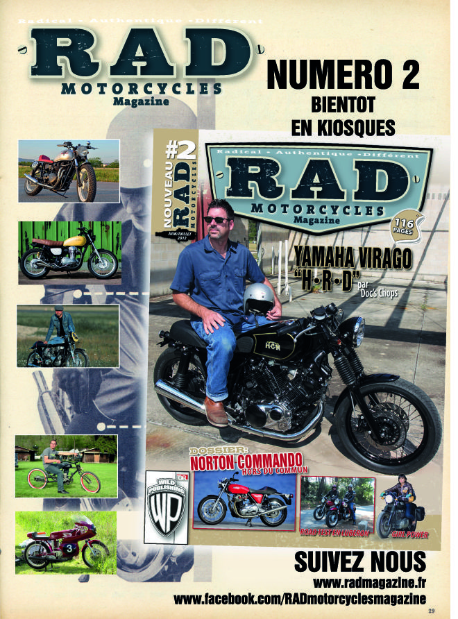 rad motorcycles magazine n 2 en kiosque. Black Bedroom Furniture Sets. Home Design Ideas