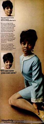 Ruby Dee in a 1966 ad for Simplicity sewing patterns.