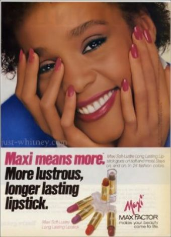 Whitney Houston rare 1980s Max Factor model ad photo