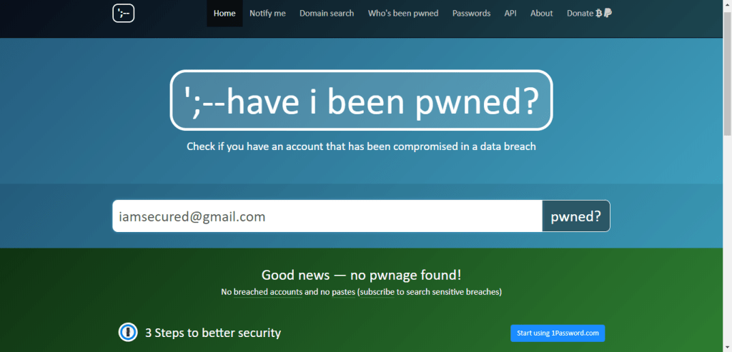 not hacked email pwned result