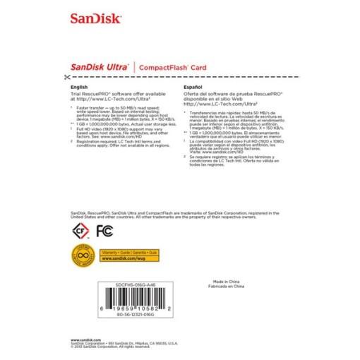 CARTE COMPACT FLASH 16 GO SANDISK ULTRA