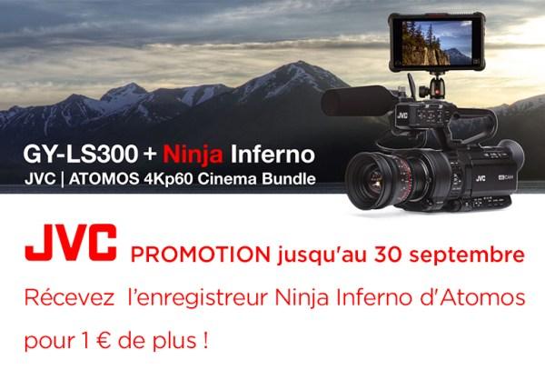 PROMOTION GY-LS300 : pour 1€ de plus le Ninja Inferno d'Atomos et une optique Olympus sont offerts !