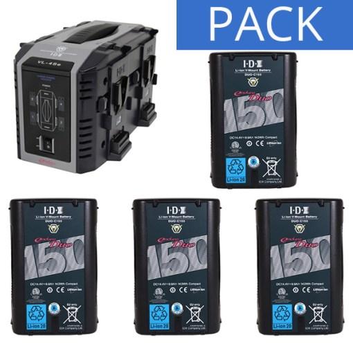 IDX 4 Batteries DUO-C150 & Chargeur VL-4SE - Kit Batteries et Chargeur