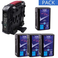 IDX 4 Batteries CUE-D150 & Chargeur VL-4X - Kit Batteries et Chargeur