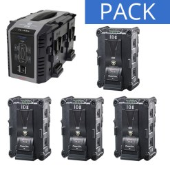 IDX 4 Batteries IPL-98 & Chargeur VL-4SE - Kit Batteries et Chargeur