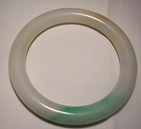 Antique Chinese Jadeite Jade Bangle Bracelet 19th Cent
