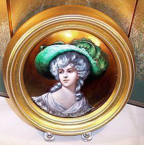 framed french limoges enamel plaque beautiful lady c1890 item
