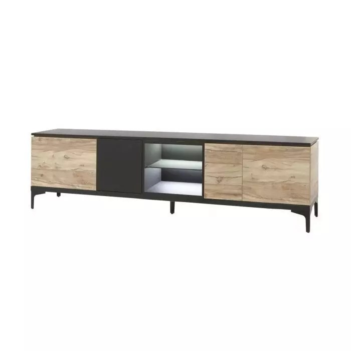 https www trocity fr meuble tv contemporain 4 portes 245 cm chene et noir mat kniks html