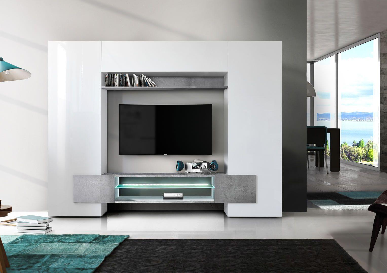 composition murale tv design avec bandeau led castro blanc brillant et beton